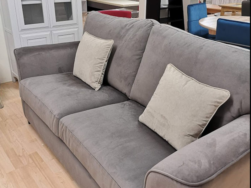 3-Seater-Soft-Grey-Velvet-Sofa-with-contrasting-cushions-at-KIlcroney-Furniture