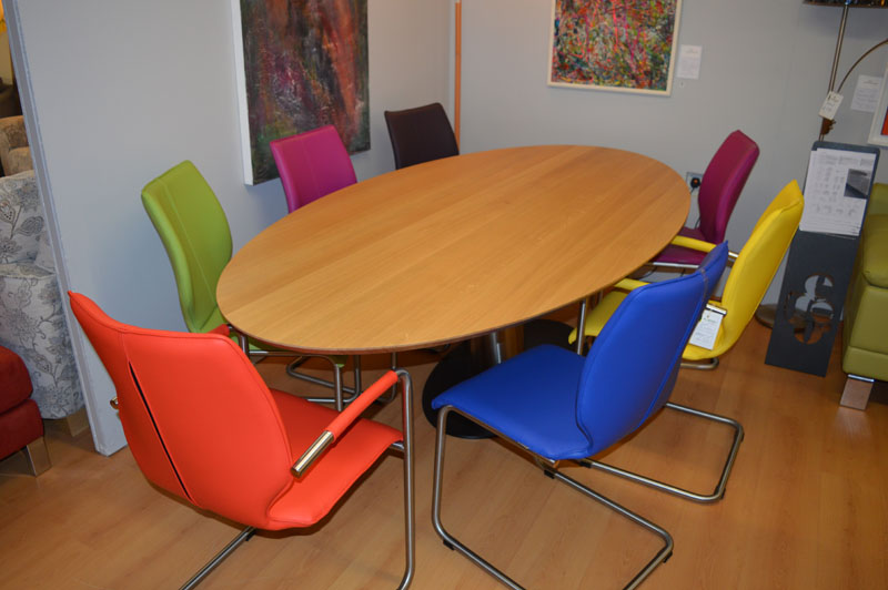 Designer Solid Oak Table on Steel Base. Dining Chairs in Various Colours Kilcroney Furniture Wicklow Furniture