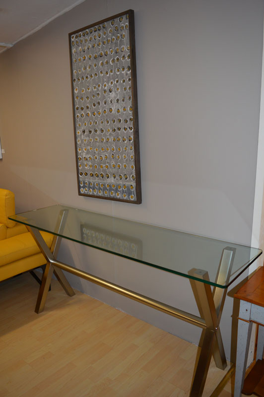 Extra Large Glass and Metal Console Table Kilcroney Furniture Wicklow Furniture