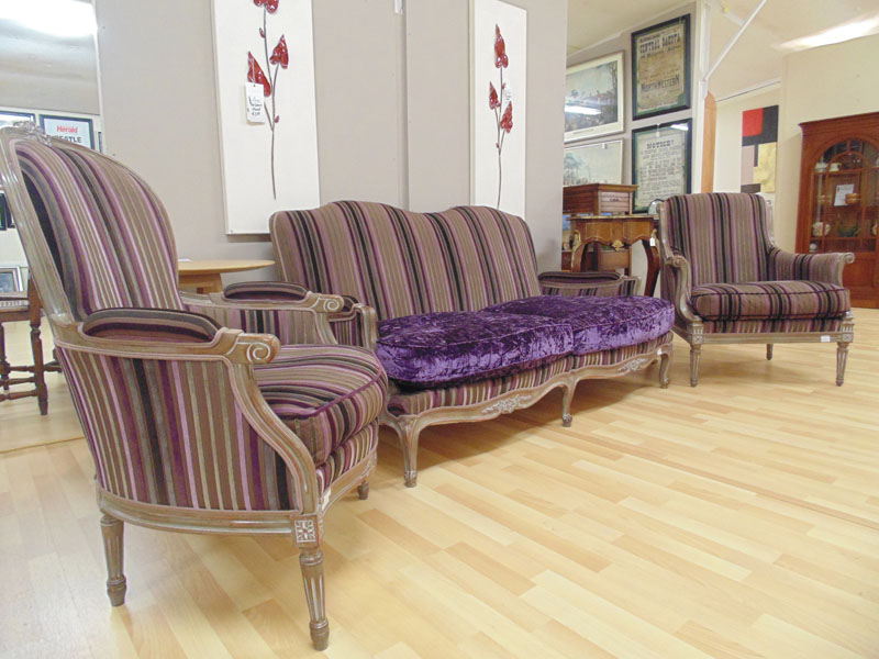 Fontaine Bleau Sofa - Purple Seats & Stripe Fabric Armchair or Easy Chair.jpg