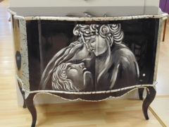 Black and Silver Lacquer 2 Door Cupboard (with painted mural).jpg