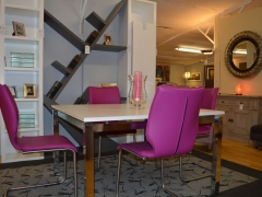 Contemporary Shelving with Square Dining Table and Leather Chairs. Kilcroney Furniture Wicklow Furniture