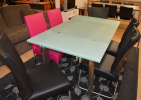 Joli Glass and Stainless Steel Extending Dining Table Kilcroney Furniture Wicklow Furniture