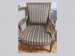Louis-X1V-inspired-Ornate-Chair-in-Striped-Fabric-unique-not-be-repeated-at-KIlcroney-Furniture