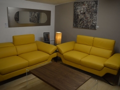 Yellow Leather Italian Sofas. Other colours available Kilcroney Furniture Wicklow Furniture