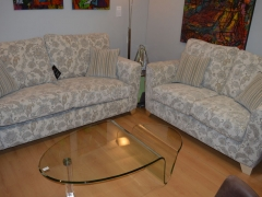 Grey Blue 3 and 2 seater sofas with unique glass coffee table. Kilcroney Furniture Wicklow Furniture