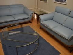 Leather Sofa in Blue and Large Glass Coffee Table Kilcroney Furniture Wicklow Furniture