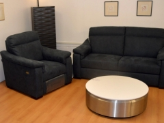 Reclining-Chair-&-Sofa-in-Navy-Fabric-with-Coffee-table