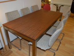 Solid Walnut Dining Table with Stainless Steel Frame. Kilcroney Furniture Wicklow Furniture