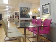 Glass and Metal Dining Table Fabric Chairs and Pink Leather Chair.jpg