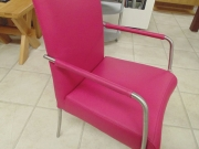 Pink Leather Dining Chair Stainless Steel Legs.jpg