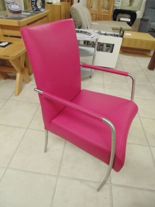 Pink Leather Dining Chair Stainless Steel Legs