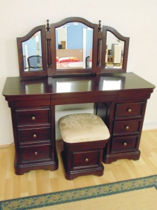 Solid Mah. Dressing Table with Mirror (stool extra)