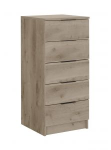 LYNBROOK - Tall chest 5 drawers - Smoky oak furniture