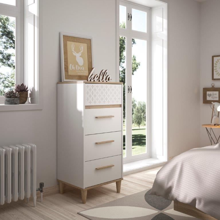 DIANA - Tall Boy with 4 drawers - White furniture