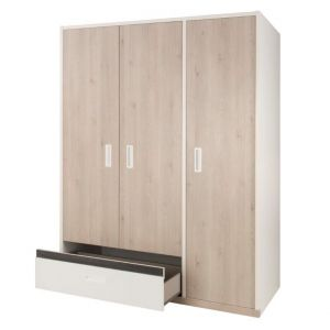 AGO - 3 Door Wardrobe with one drawer - Light oak furniture