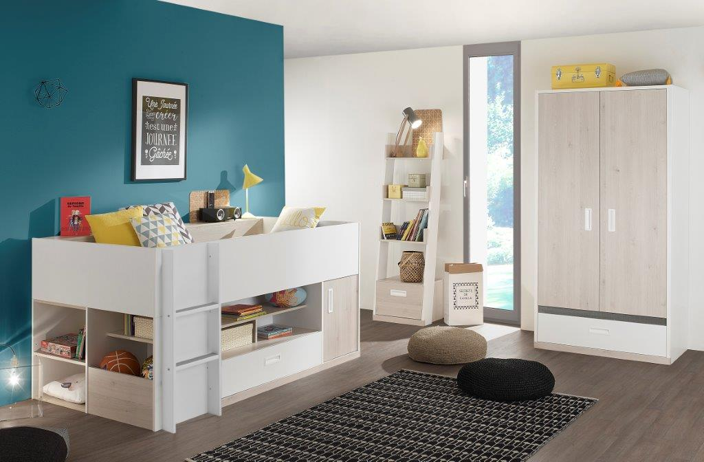 AGO - Cabin Bed room setting with storage underneath - 2 doors Wardrobe - Bookcase with storage - Light oak furniture