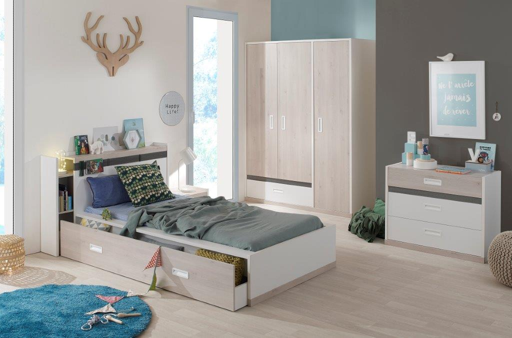 AGO - Single Bed Setting with Headboard - Chest of Drawers and Wardrobe - Light oak furniture