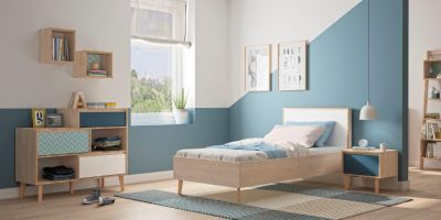 LAR - Single bed - Blue bedside with storage - Chest with 3 drawers and 2 compartments - Light oak furniture