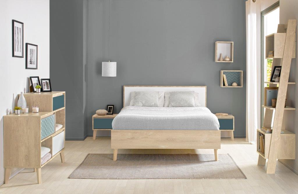 LAR - Double bed - Blue bedside with storage - Chest with 3 drawers and 2 compartments - Bookcase with storage - Light Oak furniture