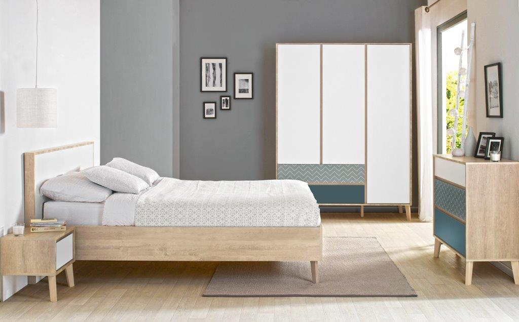 LAR - Double bed - Bedside with storage - Chest with 3 drawers - 3 doors Wardrobe and 2 drawers - Blue and white furniture