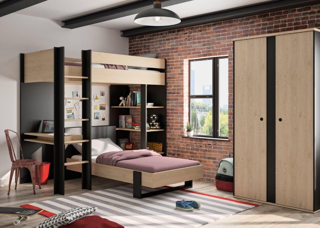LEXI - Mezzanine hight bed - Special offer ! - With a single bed - 2 doors wardrobe and storage - Natural chestnut