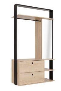 LEXI - Open wardrobe with 2 drawers and storage and mirror - Natural chestnut furniture