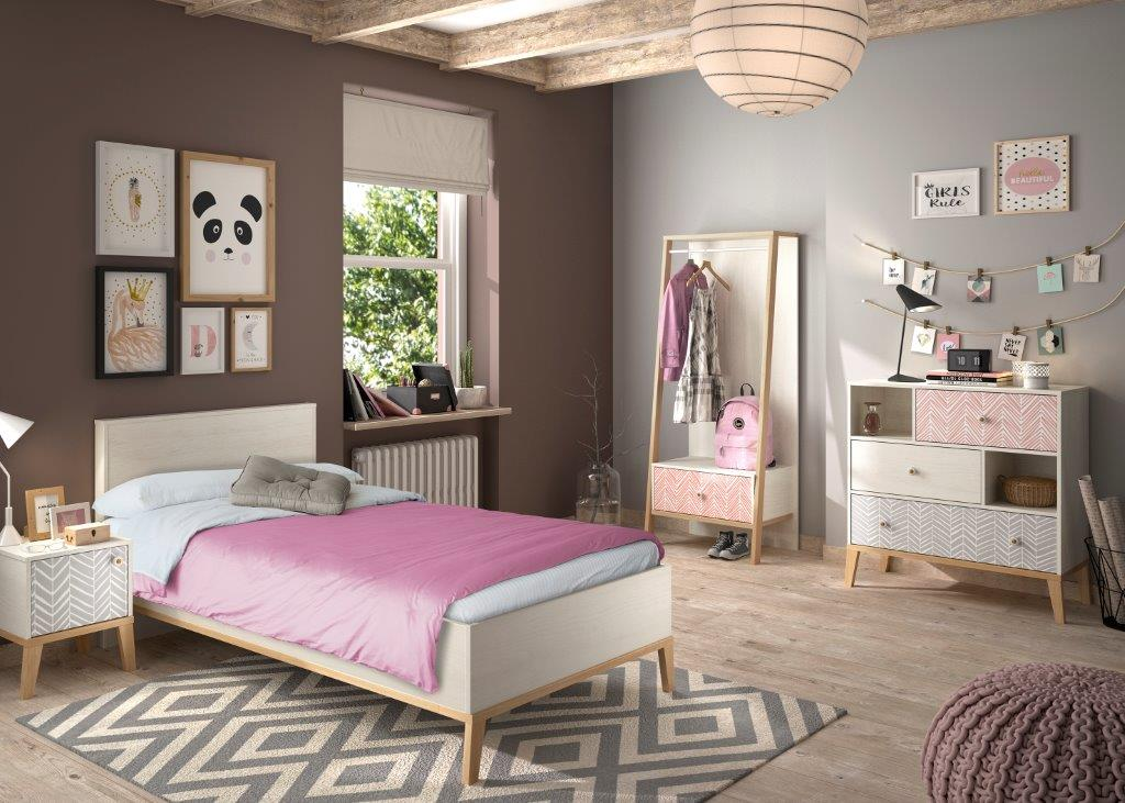 LIKA - Single bed - Bedside with storage - Open wardrobe rail with 1 drawer - Chest with 3 drawers and 2 compartments - Light oak furniture