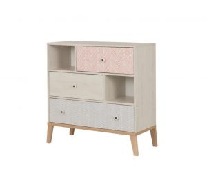 LIKA - Chest with 3 drawers and storage - Light oak furniture