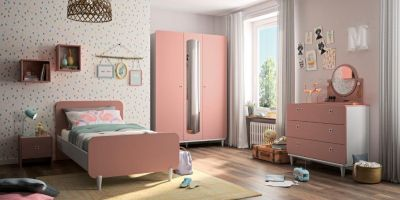 MAY - Single bed - Bedside with storage - 2 doors Wardrobe with mirror - Chest with 3 drawers - Pink furniture