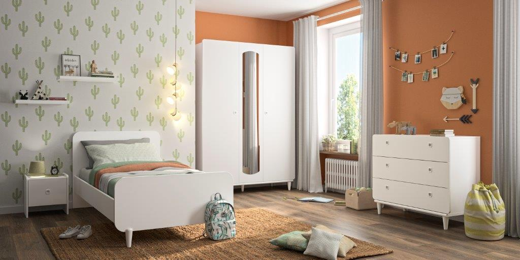 MAY - Single bed - Bedside with storage - 2 doors Wardrobe with mirror - Chest with 3 drawers - White furniture
