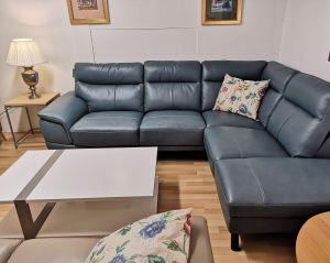 Petrol Blue Leather Corner Sofa