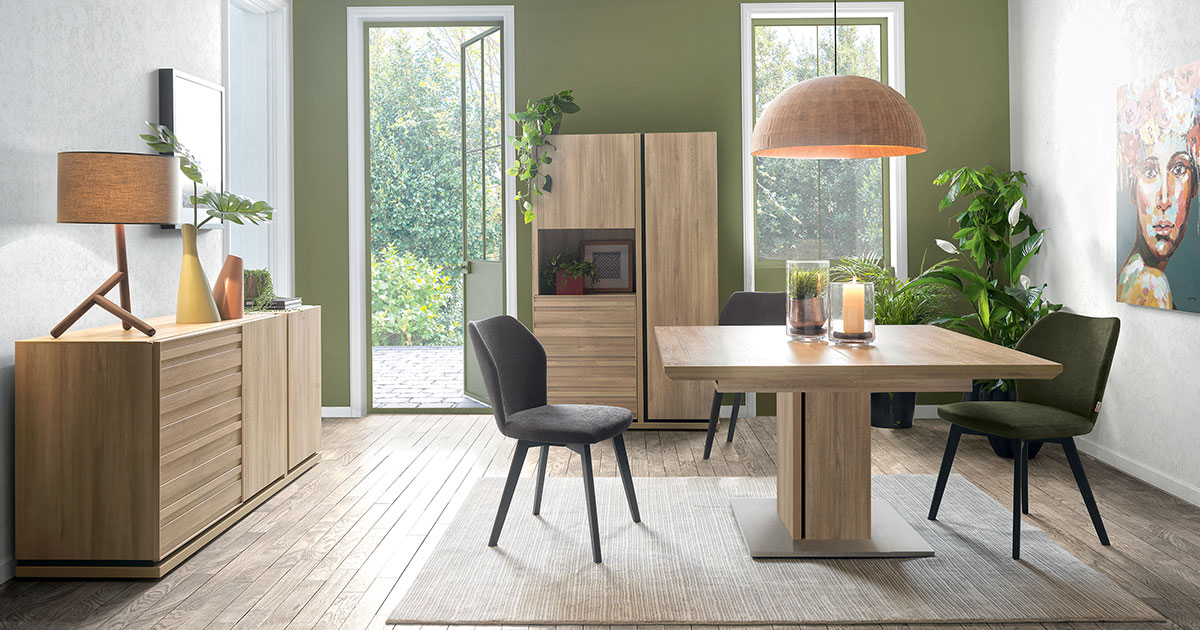 KILCRONEY_FURNITURE_DINING_Natura 4 Door Sideboard with Square Dining Table