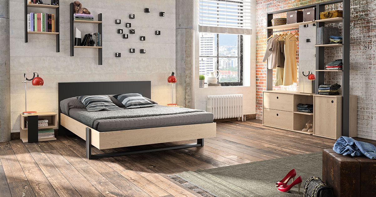 KILCRONEY_FURNITURE_KIDS_TEENS_LEXI_Double-Bed-and-Open-Wardrobe
