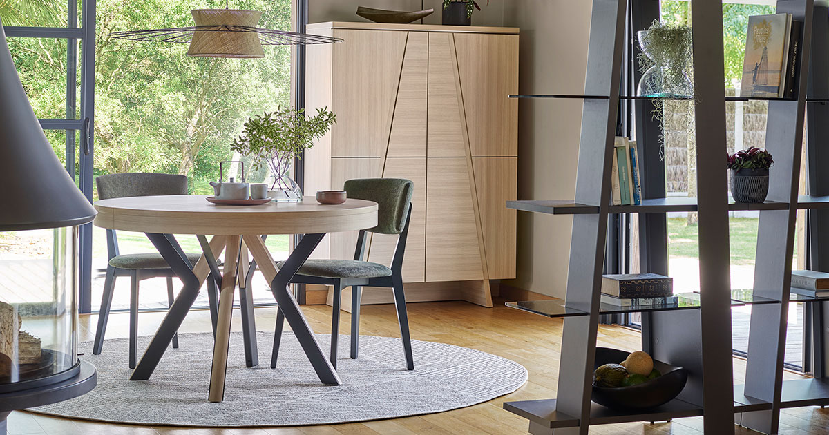 KILCRONEY_FURNITURE_LIVING_Arco-Round-Extending-Table-2-Door-Cabinet-in-Structed-Oak-and-open-Bookcase-in-Graphite-Grey