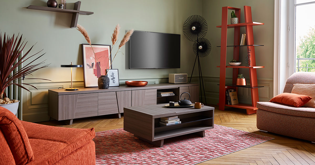 KILCRONEY_FURNITURE_LIVING_Arco-TV-Units-and-coffee-table-in-Vintage-Oak-with-Bookcase-in-Terra