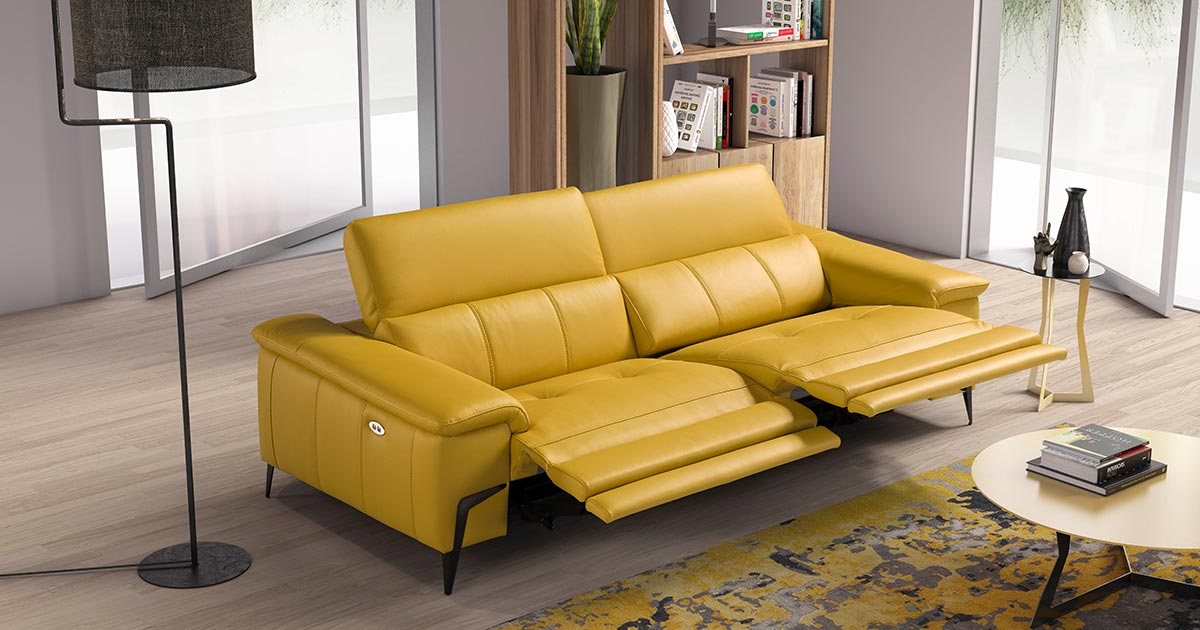 KILCRONEY_FURNITURE_SOFAS_MARGARET-Yellow-Leather-Sofa-wih-recliners